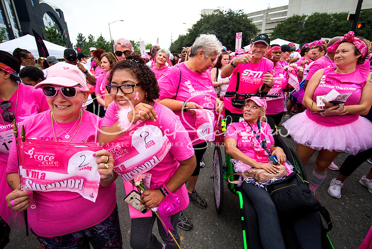 Thousands of cancers survivors and their supporters filled the streets for the 2018  Susan G. Komen Race For The Cure Charlotte, North Carolina. The race was held in Uptown/Downtown Charlotte.<br /> <br /> Charlotte Photographer - PatrickSchneiderPhoto.com