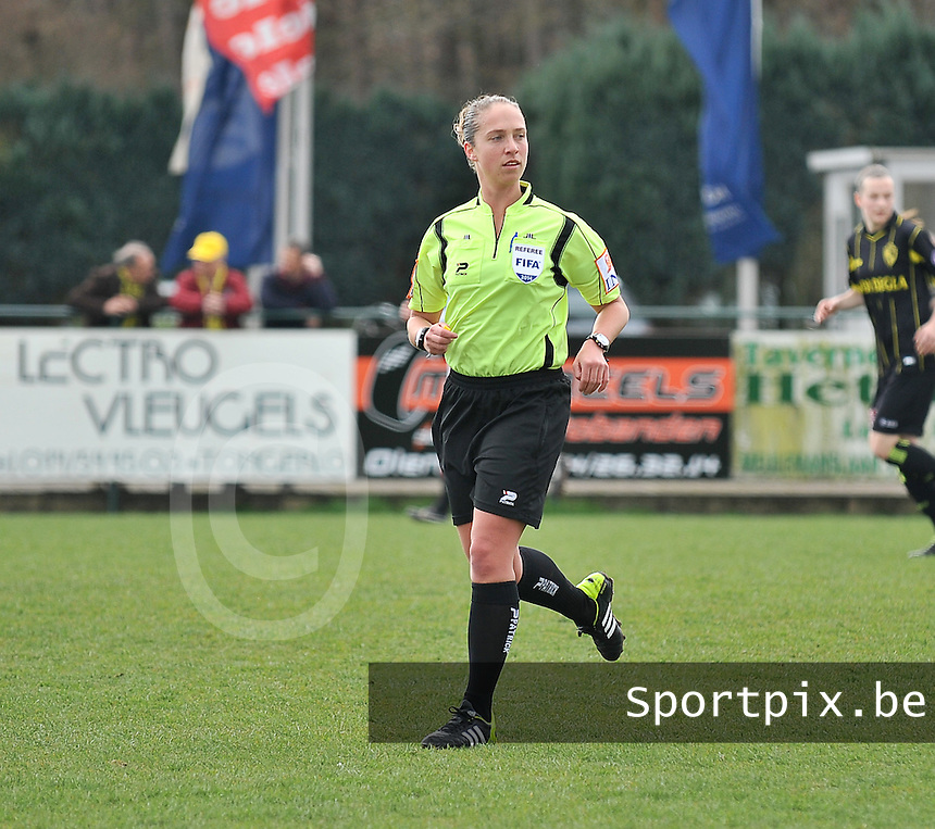 20140315 - WESTERLO , BELGIUM : referee Sharon Sluyts pictured during the soccer match between the women teams of SK Lierse Dames  and SC Heerenveen Vrouwen , on the 19th matchday of the BeNeleague competition Saturday 15 March 2014 in Westerlo . PHOTO DAVID CATRY