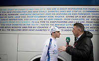 Kevin De Mesmaeker (BEL/Novo Nordisk), who is a diabetic pro-rider in an all-diabetic team, interviewed by Sporza commentator Karl Berteele before the race.<br /> It was the teams very first participation in a World Tour race.<br /> <br /> 106th Milano - San Remo 2015
