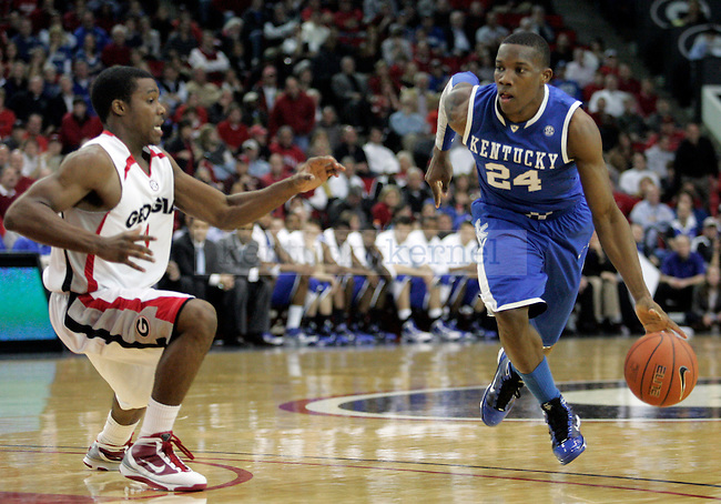 Freshman guard Eric Bledsoe dribbles the ball down court in the first half of UK's 80-68 win over Georgia at Stegeman Coliseum  in Athens, GA on Wednesday, March 3, 2010. Photo by Britney McIntosh | Staff