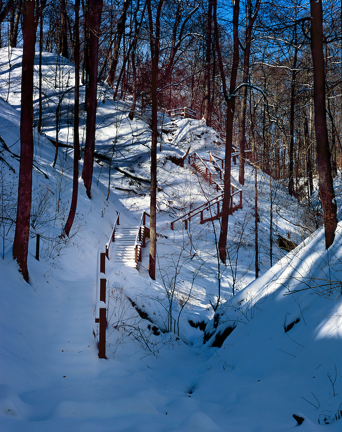 """The """"140 Steps"""" at Turkey Run State Park after a fresh snow fall."""