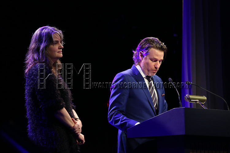 Pam McKinnon and Ethan McSweeney  on stage at the Stage Directors and Choreographers Foundation event honoring Julie Taymor with the Mr. Abbott Award at the Bohemian National Hall on April 2, 2018 in New York City.