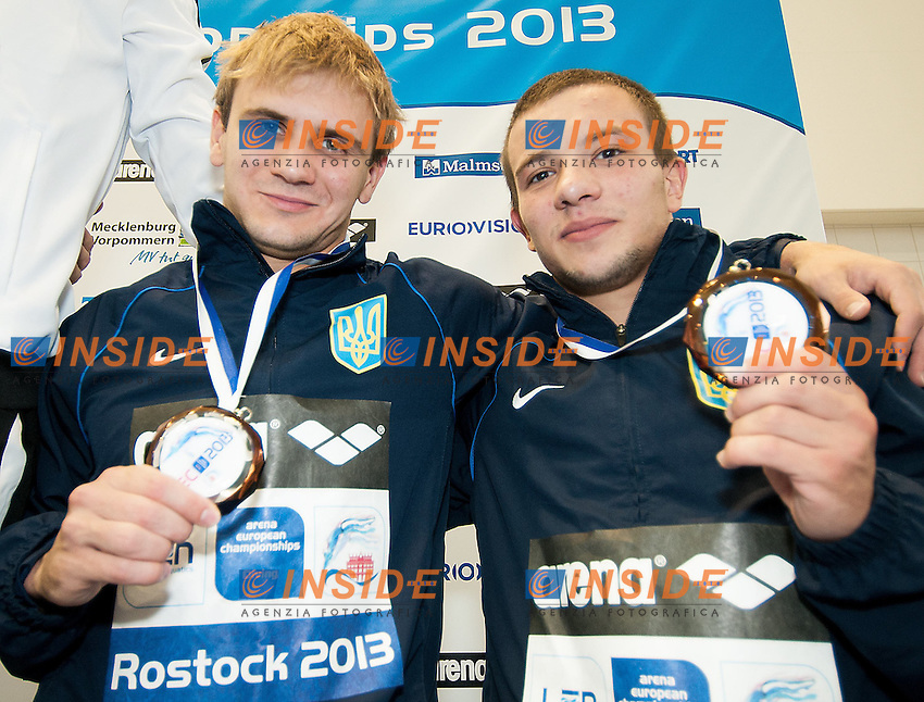 GORSHKOVOZOV Oleksandr - MEZHENSKYI Ukraine UKR, bronze medal<br /> Arena European Diving Championships<br /> 22 June 2013 Rostock GER Germany<br /> Day 05  10 m. platform Men Synchro<br /> Photo Giorgio Scala Insidefoto