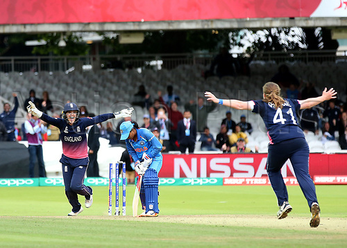 July 23rd 2017, Lords Cricket Ground, London, England; The ICC Women's World Cup Final; England Women versus India Women; Anya Shrubsole of England claims the last Indian wicket and wins the Women's World Cup for England