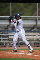 GCL Yankees East Starlin Paulino (10) bats during a Gulf Coast League game against the GCL Phillies East on July 31, 2019 at Yankees Minor League Complex in Tampa, Florida.  GCL Yankees East defeated the GCL Phillies East 11-0 in the first game of a doubleheader.  (Mike Janes/Four Seam Images)