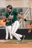 Michael Stanton (20) of the Greensboro Grasshoppers follows through on his swing at Fieldcrest Cannon Stadium in Kannapolis, NC, Saturday August 24, 2008. (Photo by Brian Westerholt / Four Seam Images)
