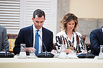King Felipe VI of Spain and King Juan Carlos during the COTEC Board meeting at El Pardo Palace in Madrid. June 08. 2016. (ALTERPHOTOS/Borja B.Hojas)