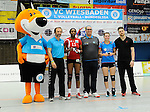 Rüsselsheim, Germany, April 13: MVP ceremony for Liana Mesa Luaces #11 of the Rote Raben Vilsbiburg and Kaisa Alanko #10 of the VC Wiesbaden after play off Game 1 in the best of three series in the semifinal of the DVL (Deutsche Volleyball-Bundesliga Damen) season 2013/2014 between the VC Wiesbaden and the Rote Raben Vilsbiburg on April 13, 2014 at Grosssporthalle in Rüsselsheim, Germany. Final score 0:3 (Photo by Dirk Markgraf / www.265-images.com) *** Local caption *** Liana Mesa Luaces #11 of the Rote Raben Vilsbiburg, Kaisa Alanko #10 of the VC Wiesbaden