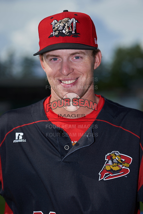 Batavia Muckdogs Travis Neubeck (22) poses for a photo before a game against the West Virginia Black Bears on June 26, 2017 at Dwyer Stadium in Batavia, New York.  Batavia defeated West Virginia 1-0 in ten innings.  (Mike Janes/Four Seam Images)