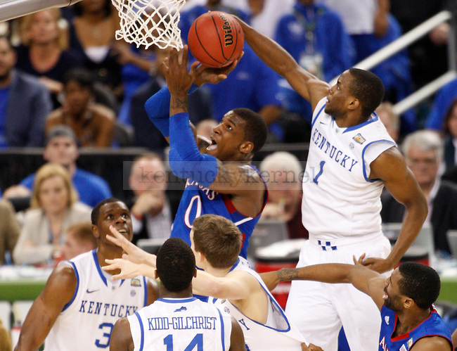 UK senior Darius Miller blocks a shot during the first half of the Kentucky vs. Kansas National Championship game at the Super Dome in New Orleans, Louisiana  April 2, 2012. Photo by Brandon Goodwin | Staff