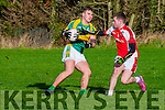 John Mitchels V Rathmore: John Mitchel's Shane O'Connor wins the ball from Rathmore's  T.J  Friel in the play off game in division 2  of the county league held in Finuge on Sunday last.