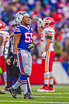 9 November 2014: Buffalo Bills defensive end Jerry Hughes smiles at the end of the third quarter against the Kansas City Chiefs at Ralph Wilson Stadium in Orchard Park, NY. The Chiefs rallied with two fourth quarter touchdowns to defeat the Bills 17-13. Mandatory Credit: Ed Wolfstein Photo *** RAW (NEF) Image File Available ***