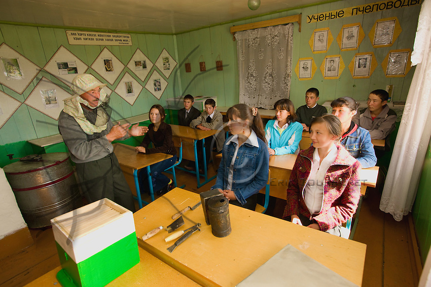 In the school, Rafic Yumaguzhin teaches beekeeping to the young of the village since 1993.