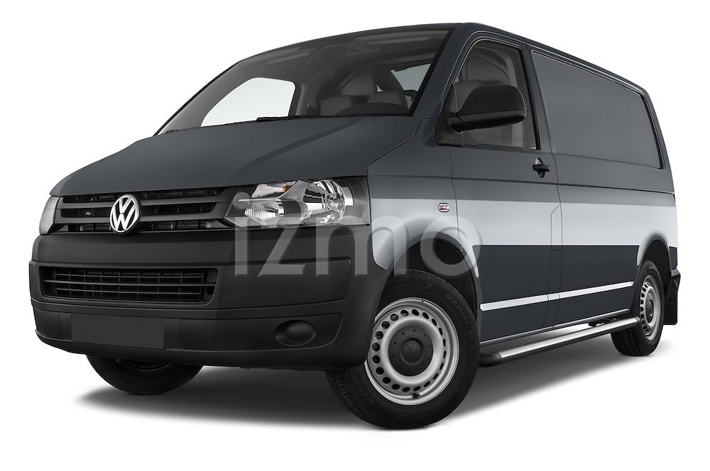 Stock pictures of low aggressive front three quarter view of a 2015 Volkswagen Transporter 2.0 Tdi Bvm6 4 Door Cargo Van Low Aggressive