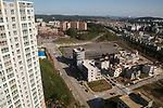 Gangneung Olympic Village, Oct 30, 2017 : Cityscape from Gangneung Olympic Village (L), the athletes' village of the 2018 PyeongChang Winter Olympics is seen in Gangneung, east of Seoul, South Korea. The 23rd Winter Olympics will be held for 17 days from February 9 - 25, 2018. The opening and closing ceremonies and most snow sports will take place in PyeongChang county. Jeongseon county will host Alpine speed events and ice sports will be held in the coast city of Gangneung. (Photo by Lee Jae-Won/AFLO) (SOUTH KOREA)