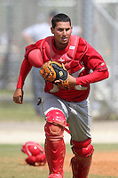 St. Louis Cardinals minor league player Juan Castillo during a spring training game vs the Florida Marlins at the Roger Dean Sports Complex in Jupiter, Florida;  March 25, 2011.  Photo By Mike Janes/Four Seam Images