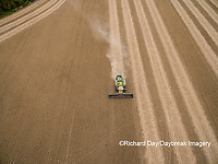 63801-09515 Soybean Harvest, John Deere combine harvesting soybeans - aerial - Marion Co. IL