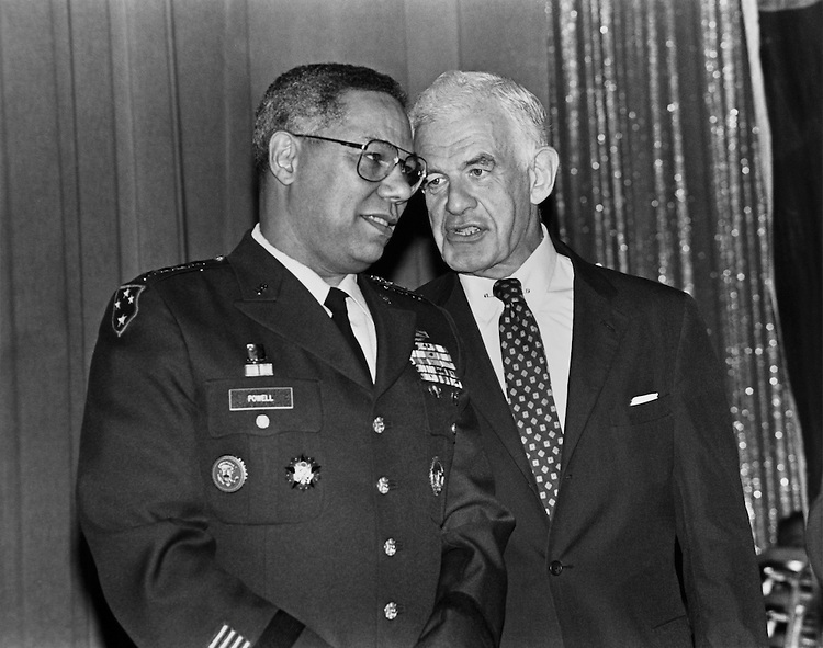 "Colin Luther Powell, Joint Chiefs of Staff Chair and Speaker of the House Rep. Thomas Stephen ""Tom"" Foley, D-Wash. (Guest of Honor, and from New York) pose at the New York State Biennial  Festival. October 14, 1991 (Photo by Laura Patterson/CQ Roll Call)"