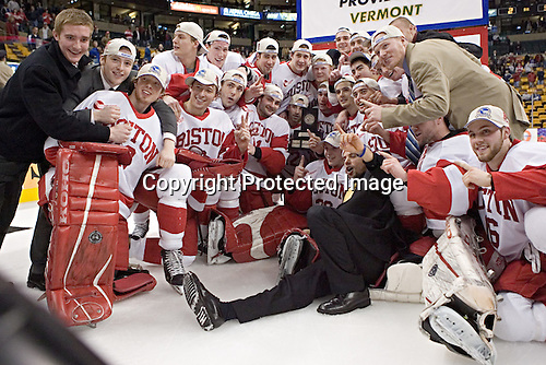 BU ?, BU ?, Karson Gillespie, Chris Higgins, Ryan Weston, ?, Kenny Roche, Tom Morrow, Dan Spang, ?, Brad Zancanaro, Bryan Ewing, David Van der Gulik, ?, Sean Sullivan, Brandon Yip, ?, John Curry, ?, ?, Jason Lawrence, ?, ?, Stephan Siwiec, Peter MacArthur - The Boston University Terriers defeated the Boston College Eagles 2-1 in overtime in the March 18, 2006 Hockey East Final at the TD Banknorth Garden in Boston, MA.