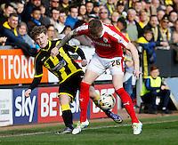 Burton Albion v Barnsley 16.4.16 .Sky Bet League 1 ....... Barnsleys Alfie mawson forces Matty Palmer off the ball