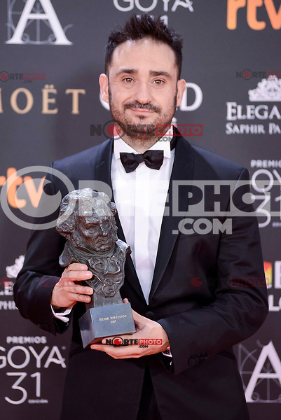 J.A. Bayona  pose to the media with the Goya  award at Madrid Marriott Auditorium Hotel in Madrid, Spain. February 04, 2017. (ALTERPHOTOS/BorjaB.Hojas) /NORTEPHOTO.COM