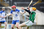 XXjob 06/05/2015 SPORT<br /> Limerick Seamus Flanagan &amp; Waterford's Darragh Lyons  in Action during their 2015 Electric Ireland Munster GAA Hurling Minor Championship.<br /> Picture  Credit Brian Gavin Press 22