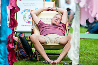 Friday  27 May 2016<br /> Pictured: A man has a nap on a deck chair at the Hay festival<br /> Re: The 2016 Hay festival take place at Hay on Wye, Powys, Wales