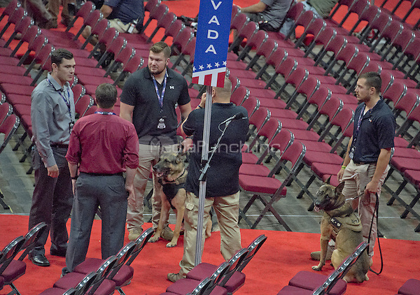 Security dogs and their handlers on the floor as they prepare for the security sweep at the Quicken Loans Arena, site of the 2016 Republican National Convention on Saturday, July 16, 2016.<br /> Credit: Ron Sachs / CNP/MediaPunch<br /> (RESTRICTION: NO New York or New Jersey Newspapers or newspapers within a 75 mile radius of New York City)