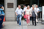 Nicola Furlong's family (L-R) father Andrew Furlong and sister,  Andrea, and mother, Angela, leave the Tokyo Family Court in Tokyo, Japan on 26 July, 2012. Photographer: Robert Gilhooly