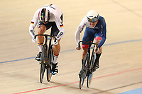 Picture by SWpix.com - 03/03/2018 - Cycling - 2018 UCI Track Cycling World Championships, Day 4 - Omnisport, Apeldoorn, Netherlands - Men's Sprint Quarterfinals - Ryan Owens of Great Britain and Maximilian Levy of Germany