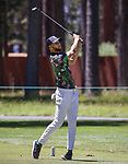 Steph Curry hits a chip shot during the ACC Golf Tournament at Edgewood Tahoe Golf Course in South Lake Tahoe on Sunday, July 14, 2019.
