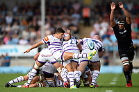 Ben Youngs of Leicester Tigers box-kicks the ball. Gallagher Premiership match, between Exeter Chiefs and Leicester Tigers on September 1, 2018 at Sandy Park in Exeter, England. Photo by: Patrick Khachfe / JMP