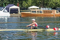 """Henley on Thames, United Kingdom, 7th July 2018, Saturday, View, SUI W1X, Jeannine GMELIN,  making her way to her semi final race,  """"Fourth day"""", of the annual,  """"Henley Royal Regatta"""", Henley Reach, River Thames, Thames Valley, England, © Peter SPURRIER,"""