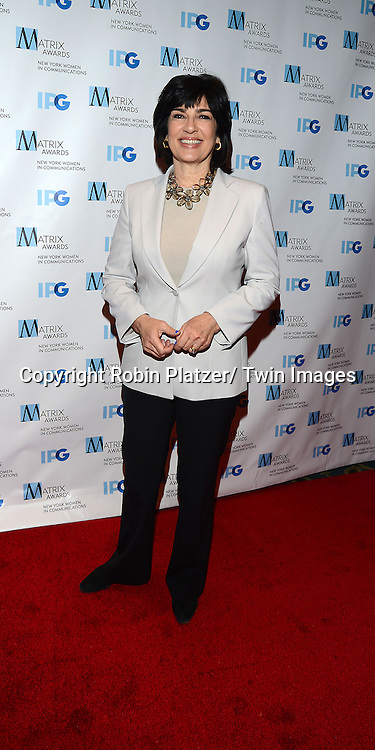 Christiane Amanpour attends the 2014 Matrix Awards on April 28, 2014 at the Waldorf Astoria Hotel in New York City, NY, USA