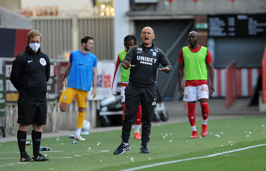 Preston North End manager Alex Neil  shouts instructions from the technical area<br /> <br /> Photographer Ian Cook/CameraSport<br /> <br /> The EFL Sky Bet Championship - Bristol City v Preston North End - Wednesday July 22nd 2020 - Ashton Gate Stadium - Bristol <br /> <br /> World Copyright © 2020 CameraSport. All rights reserved. 43 Linden Ave. Countesthorpe. Leicester. England. LE8 5PG - Tel: +44 (0) 116 277 4147 - admin@camerasport.com - www.camerasport.com