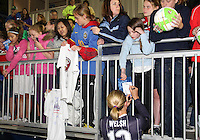 Christie Welsh#13 signs autographs after the home opener for the Washington Freedom in a WPS match against the Boston Breakers on April 10 2010, at the Maryland Soccerplex, in Boyds, Maryland. Breakers won 2-1.