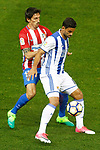 Atletico de Madrid's Stefan Savic (l) and Real Sociedad's William Jose during La Liga match. April 4,2017. (ALTERPHOTOS/Acero)