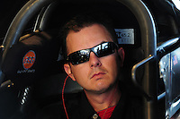 Feb. 17 2012; Chandler, AZ, USA; NHRA top fuel driver Steve Torrence prepares to warm up his dragster at the Arizona Nationals at Firebird International Raceway. Mandatory Credit: Mark J. Rebilas-
