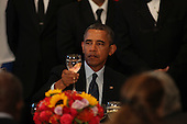 United States President Barack Obama raises his glass for a toast as he attends the Delegates Luncheon at the 68th United Nations General Assembly in New York, New York on Tuesday, September 24, 2013.<br /> Credit: Allan Tannenbaum / Pool via CNP
