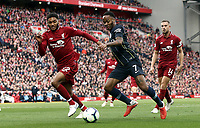 Manchester City's Raheem Sterling drives into the penalty area under pressure from Liverpool's Joe Gomez<br /> <br /> Photographer Rich Linley/CameraSport<br /> <br /> The Premier League - Liverpool v Manchester City - Sunday 7th October 2018 - Anfield - Liverpool<br /> <br /> World Copyright &copy; 2018 CameraSport. All rights reserved. 43 Linden Ave. Countesthorpe. Leicester. England. LE8 5PG - Tel: +44 (0) 116 277 4147 - admin@camerasport.com - www.camerasport.com