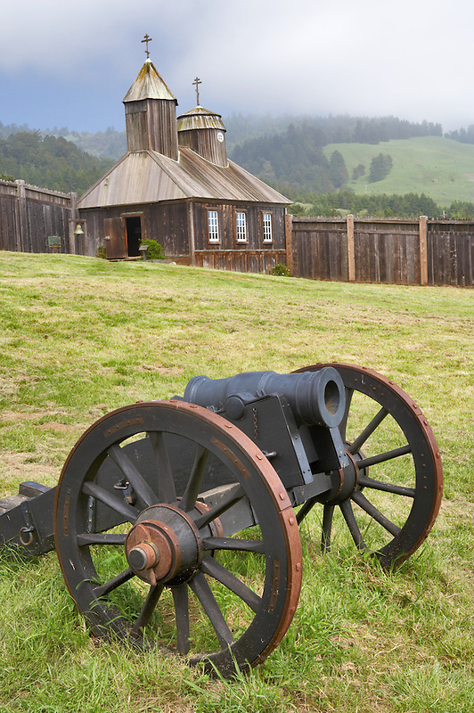 Canon and chapekl at Fort Ross State Park. California