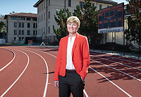 Occidental College Athletic Director Shanda Ness, photographed March 13, 2019 on Bill Henry Track in Kemp Stadium.<br /> (Photo by Marc Campos, Occidental College Photographer)