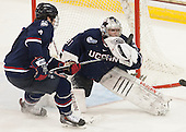 Kyle Huson (UConn - 4), Rob Nichols (UConn - 31) - The Boston College Eagles defeated the visiting University of Connecticut Huskies 3-2 on Saturday, January 24, 2015, at Kelley Rink in Conte Forum in Chestnut Hill, Massachusetts.