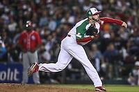 Oliver Perez pitcher de Mexico, durante el  partido final de la Serie del Caribe en el nuevo Estadio de  los Tomateros en Culiacan, Mexico, Martes  7 Feb 2017. Foto: AP/Luis Gutierrez