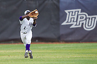 High Point Panthers center fielder Josh Greene (1) makes a running catch against the Coastal Carolina Chanticleers at Willard Stadium on March 14, 2014 in High Point, North Carolina.  The Panthers defeated the Chanticleers 3-0.  (Brian Westerholt/Four Seam Images)