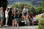 Toms Skujins (LAT) Trek-Segafredo climbing during Stage 5 of the 2018 Tour de France running 204.5km from Lorient to Quimper, France. 11th July 2018. <br /> Picture: ASO/Pauline Ballet | Cyclefile<br /> All photos usage must carry mandatory copyright credit (&copy; Cyclefile | ASO/Pauline Ballet)