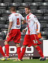 James Dunne of Stevenage  (l) celebrates with Robin Shroot<br />  - Notts County v Stevenage - Sky Bet League One - Meadow Lane, Nottingham - 24th August 2013<br /> © Kevin Coleman 2013