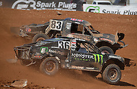 Apr 17, 2011; Surprise, AZ USA; LOORRS driver Steve Barlow (83) leads Rick Huseman (36) during round 4 at Speedworld Off Road Park. Mandatory Credit: Mark J. Rebilas-