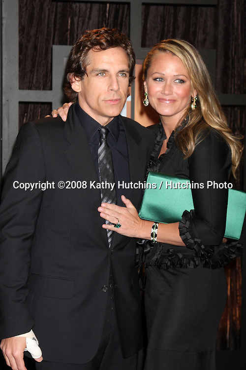 Ben Stiller & Christine Taylor arriving at the  Critic's Choice Awards at the Santa Monica Civic Center, in Santa Monica , CA on .January 8, 2009.©2008 Kathy Hutchins / Hutchins Photo..                .