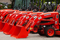 Kubota loaders are lined up at a dealership in Conway, New Hampshire Thursday June 13, 2013. Kubota Corporation is a tractor and heavy equipment manufacturer based in Osaka.